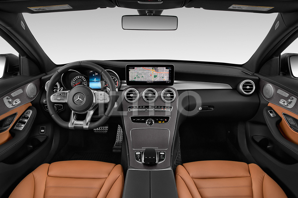 Stock photo of straight dashboard view of a 2019 Mercedes Benz C-CLass 43-AMG 4 Door Sedan