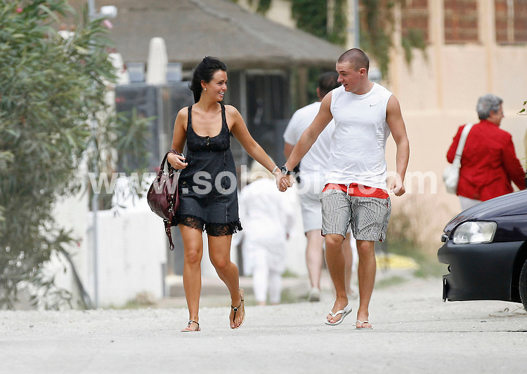 "**ALL-ROUND EXCLUSIVE PICTURES FROM SOLARPIX.COM**.**WORLDWIDE SYNDICATION RIGHTS**.Jennifer Metcalfe, who plays McQueen sister Mercedes Fisher in Hollyoaks, shows off her new boyfriend, William Rodgers on a romantic weekend break in Marbella, Spain. The couple laughed and joked as they relaxed on a sun bed by the sea looking very much in love.An onlooker said they looked absolutely besotted with each other.When asked, Jennifer said: ""It's early days but yes, I do have a new bloke. He's lovely and is making me very happy, but it's very casual at the moment. He's not famous, he's an ordinary man."".Jennifer - who has previously dated soccer star Jermaine Pennant and former 'Big Brother' contestant Ziggy Lichman, insists she prefers dating men who are out of the spotlight.She added: ""I don't see men as celebs and non-celebs but it's easier to be with someone if they're not in the public eye, as you can escape it."".JOB REF:    9978   AB1       DATE:  20.09.09.**MUST CREDIT SOLARPIX.COM OR DOUBLE FEE WILL BE CHARGED**.**MUST AGREE FEE BEFORE ONLINE USAGE**.**CALL US ON: +34 952 811 768 or LOW RATE FROM UK 0844 617 7637**"