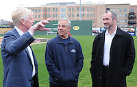New Boston Red Sox manager Bobby Valentine, center, tours Fluor Field at the West end with Greenville Drive General Manager Mike deMaine, right, and Co-Owner/President Craig Brown on January 23, 2012, in Greenville, South Carolina. Valentine was in town to speak at the annual Greenville Drive Hot Stove Event. (Tom Priddy/Four Seam Images)