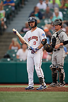 Brooklyn Cyclones Joe Genord (9) at bat during a NY-Penn League game against the Tri-City ValleyCats on August 17, 2019 at MCU Park in Brooklyn, New York.  The game was postponed due to inclement weather, Brooklyn defeated Tri-City 2-1 in the continuation of the game on August 18th.  (Mike Janes/Four Seam Images)