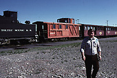 A C&amp;TS daily exccursion train at Antonito with the regular rider cars plus caboose #05635, built from a stock car in 1976.<br /> C&amp;TS  Antonito, CO