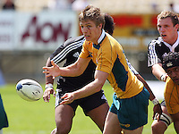 James Ambrosini passes during the International rugby match between New Zealand Secondary Schools and Suncorp Australia Secondary Schools at Yarrows Stadium, New Plymouth, New Zealand on Friday, 10 October 2008. Photo: Dave Lintott / lintottphoto.co.nz