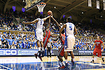 02 November 2013: Duke's Jabari Parker (1) win a rebound against Drury's Lonnie Boga (in red). The Duke University Blue Devils played the Drury University Panthers in a men's college basketball exhibition game at Cameron Indoor Stadium in Durham, North Carolina. Duke won the game 81-65.