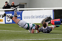 Matt Cornish of Ealing Trailfinders is sent flying by David Williams of Nottingham Rugby  during the Championship Cup Quarter Final match between Ealing Trailfinders and Nottingham Rugby at Castle Bar , West Ealing , England  on 2 February 2019. Photo by Carlton Myrie / PRiME Media Images.