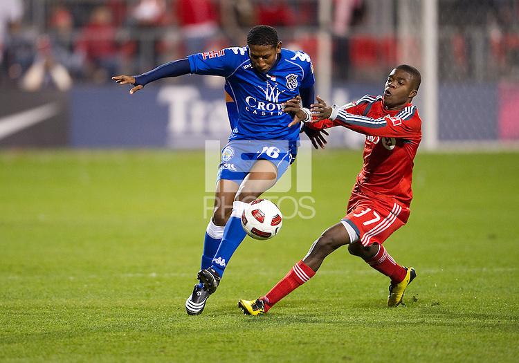 19 October 2010: Toronto FC Nicholas Lindsay #37 battles with Arabe Unido Felix Gondola #26 during a CONCACAF game between Arabe Unido and Toronto FC at BMO Field in Toronto..Toronto FC won 1-0..