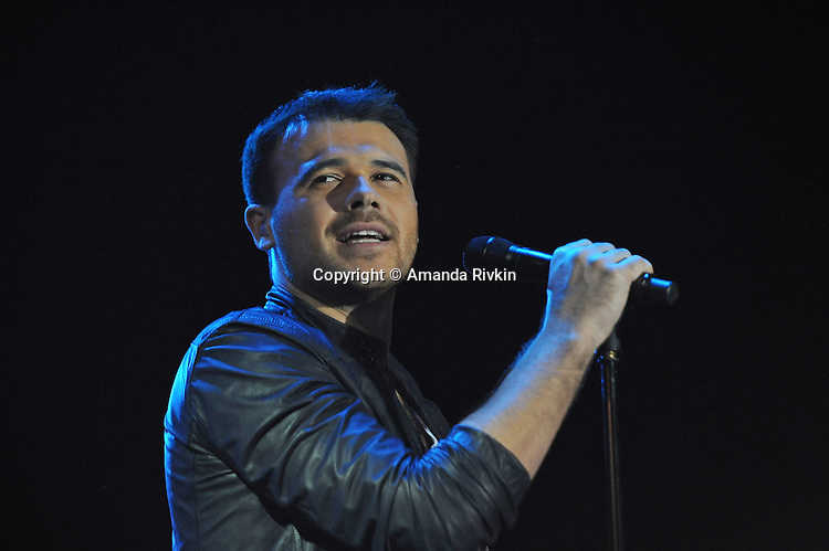 Emin Agalarov, the son-in-law of Azerbaijan's President Ilham Aliyev and the nation's top male pop star, performs on the Caspian seaside Bulvar at the Eurovsion Song Contest Fan Club concert on April 29, 2012.  Agalarov is married to Leyla Aliyeva, the eldest daughter of Azerbaijani President Ilham Aliyev who holds many hats in her own right, among them head of the Heydar Aliyev Foundation in Russia, editor of Baku Magazine, artist, and poet and Agalarov's father, Aras Agalarov, is a Russian billionaire oligarch of Azerbaijani origin in the retail and real estate development sectors, being the first to bring foreign luxury fashion brands to Russia after the collapse of communism and opening several gaudy malls and arenas in Moscow and elsewhere in Russia.