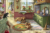 Marcello, REALISTIC ANIMALS, REALISTISCHE TIERE, ANIMALES REALISTICOS,dogs,puppies,pups,kitchen,puzzle paintings+++++,ITMCEDC1021,#A# ,cats ,puzzles