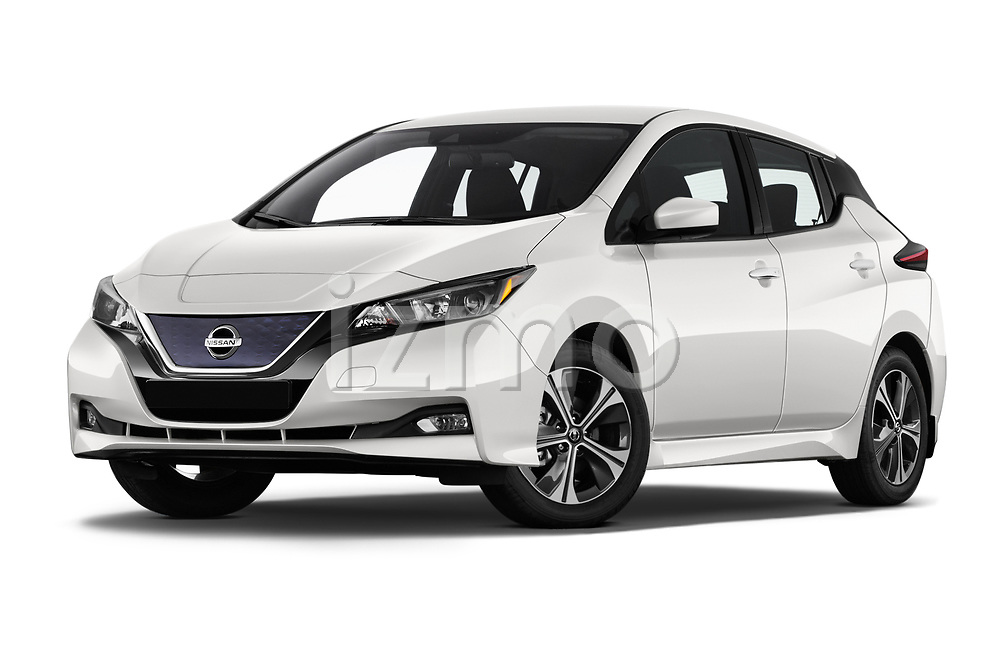 Stock pictures of low aggressive front three quarter view of 2020 Nissan Leaf SV 5 Door Hatchback Low Aggressive