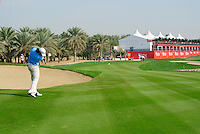 Justin Day (AUS) plays his 2nd shot on the 18th hole during Thursday's Round 1 of the HSBC Golf Championship at the Abu Dhabi Golf Club, United Arab Emirates, 26th January 2012 (Photo Eoin Clarke/www.golffile.ie)