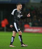 Jamie Vardy of Leicester City gives a thumbs up during the Barclays Premier League match between Swansea City and Leicester City played at The Liberty Stadium on 5th December 2015