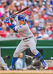 15 June 2016: Chicago Cubs third baseman Javier Baez in action against the Washington Nationals at Nationals Park in Washington, DC. The Cubs fell to the Nationals 5-4 in 12 innings in the rubber match of their 3-game series. Mandatory Credit: Ed Wolfstein Photo *** RAW (NEF) Image File Available ***