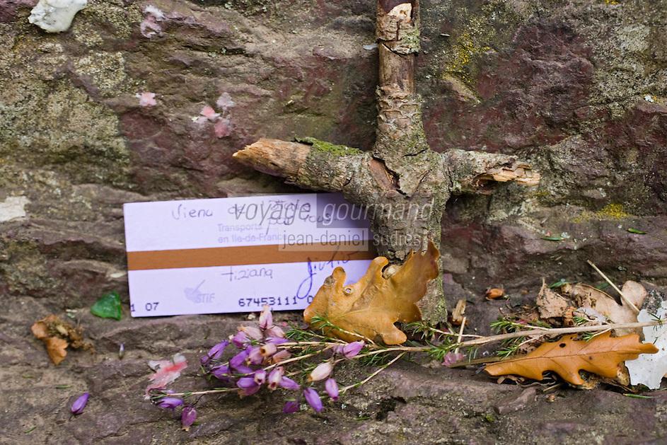 Europe/France/Bretagne/35/Ille et Vilaine/Paimpont: Forêt de Paimpont, mythique Brocéliandre - Ex-Voto, Couronne et Veux sur le Tombeau de Merlin l'Enchanteur
