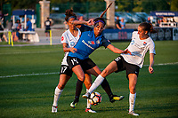 Kansas City, MO - Wednesday August 16, 2017: Dominique Richardson, Sydney Leroux Dwyer, Sarah Killion during a regular season National Women's Soccer League (NWSL) match between FC Kansas City and Sky Blue FC at Children's Mercy Victory Field.