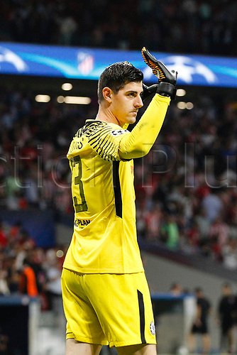 27th September 2017, Wanda Metropolitano, Madrid, Spain; UEFA Champions League, Atletico Madrid versus Chelsea; Thibaut Courtois (13) Chelsea waves to the crowd