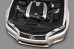 High angle engine detail of a 2013 Lexus GS 350  .