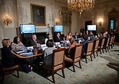 "First lady Melania Trump hosts a meeting of the Interagency Working Group on Youth Programs in the State Dining Room of the White House in Washington, DC on Monday, March 18, 2019.  The group was originally established under former United States President George W. Bush and is part of an effort to align the First Lady's ""Be Best"" initiative with the working group. <br /> Credit: Ron Sachs / CNP"