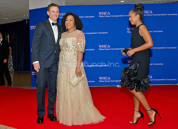 Shonda Rhimes, center, and Tony Goldwyn, left pose for photographers on the Red Carpet as they are approached by Kerry Washington, right, as they arrive for the 2016 White House Correspondents Association Annual Dinner at the Washington Hilton Hotel on Saturday, April 30, 2016.<br /> Credit: Ron Sachs / CNP<br /> (RESTRICTION: NO New York or New Jersey Newspapers or newspapers within a 75 mile radius of New York City)/MediaPunch