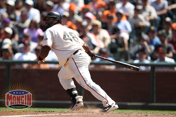SAN FRANCISCO, CA - JUNE 14:  Pablo Sandoval #48 of the San Francisco Giants bats against the Houston Astros during the game at AT&T Park on Thursday, June 14, 2012 in San Francisco, California. Photo by Brad Mangin