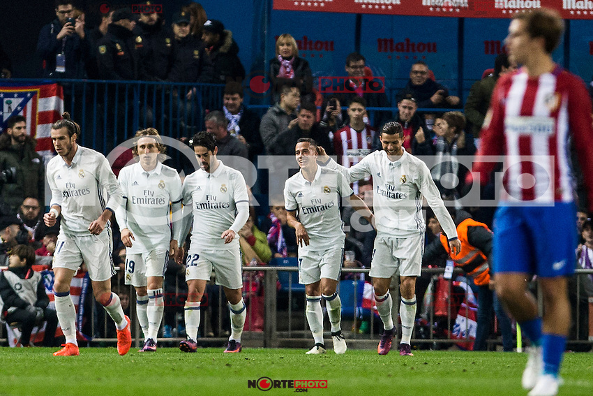 Real Madrid's Mateo Kovacic Luka Modric Raphael Varane Daniel Carvajal Lucas Vazquez Cristiano Ronaldo during the match of La Liga between Atletico de Madrid and Real Madrid at Vicente Calderon Stadium  in Madrid , Spain. November 19, 2016. (ALTERPHOTOS/Rodrigo Jimenez) /NORTEPHOTO.COM