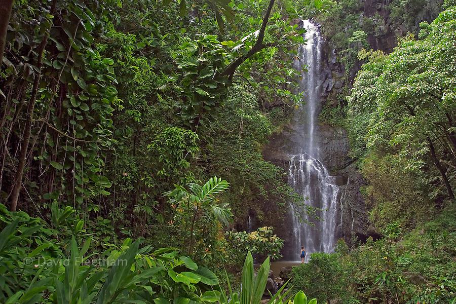 A girl (MR) at the base of Wailua Waterfall, near Hana, Maui, Hawaii.