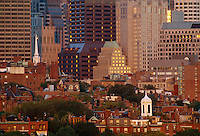 Park St. Church and Beacon Hill skyline from Kendall Sq Boston, MA