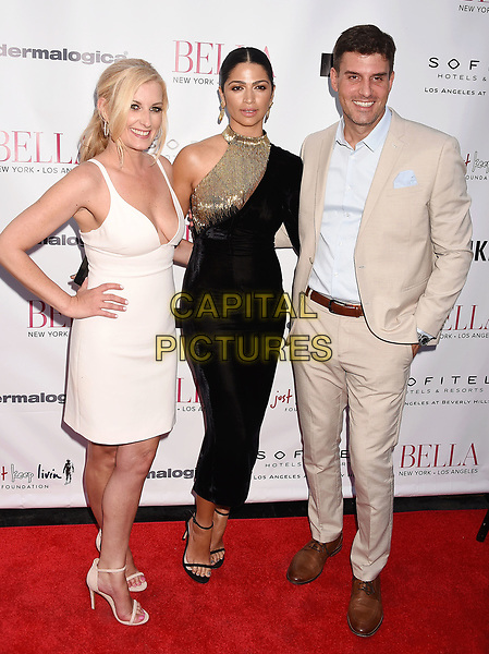 LOS ANGELES, CA - JUNE 23:  (L-R) BELLA CEO &amp; Founder Courtenay Hall, model-designer Camila Alves McConaughey and publisher Daniel G. Hall attend the BELLA Los Angeles Summer Issue Cover Launch Party at Sofitel Los Angeles At Beverly Hills on June 23, 2017 in Los Angeles, California.<br /> CAP/ROT/TM<br /> &copy;TM/ROT/Capital Pictures