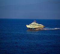 Hydrofoil heading to San Sebastian, La Gomera from  Los Cristianos harbour,Tenerife. Canary Islands, Spain,Tenerife. Canary Islands, Spain
