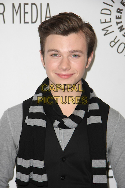 "CHRIS COLFER.The PaleyFest 2011 Panel for ""Glee"" held at The Saban Theater in Beverly Hills, California, USA..March 16th, 2011.half length waistcoat grey gray black scarf .CAP/ADM/TB.©Tommaso Boddi/AdMedia/Capital Pictures."