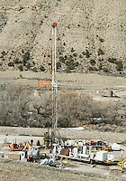 Drilling and natural gas industry operations near the town of Parachute and village of Battlement Mesa, Colorado, Wednesday, February 21, 2013. Fracking has been a hot topic for the area around Battlement Mesa and Parachute, Colorado with concerned citizens wanting more studies on potential health issues and drilling companies growing their operations.<br /> <br /> Photo by Matt Nager