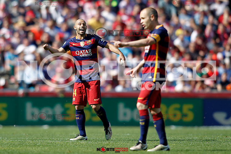 FC Barcelona's Javier Mascherano (l) and Andres Iniesta during La Liga match. May 14,2016. (ALTERPHOTOS/Acero) /NortePhoto.com