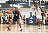WASHINGTON, DC - NOVEMBER 16: Shawn Walker Jr. #1 of George Washington moves up on Isaiah Burke #2 of Morgan State during a game between Morgan State University and George Washington University at The Smith Center on November 16, 2019 in Washington, DC.
