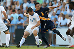 29 August 2014: North Carolina's Nick Williams (27) and Cal's Paul Salcedo (8). The University of North Carolina Tar Heels hosted the University of California Bears at Fetzer Field in Chapel Hill, NC in a 2014 NCAA Division I Men's Soccer match. North Carolina won the game 3-1.