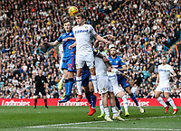 Bolton Wanderers' Callum Connolly competing with Leeds United's Patrick Bamford in the air<br /> <br /> Photographer Andrew Kearns/CameraSport<br /> <br /> The EFL Sky Bet Championship - Leeds United v Bolton Wanderers - Saturday 23rd February 2019 - Elland Road - Leeds<br /> <br /> World Copyright © 2019 CameraSport. All rights reserved. 43 Linden Ave. Countesthorpe. Leicester. England. LE8 5PG - Tel: +44 (0) 116 277 4147 - admin@camerasport.com - www.camerasport.com