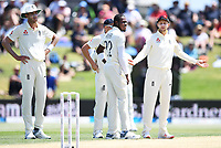23rd November 2019; Mt Maunganui, New Zealand;  England captain Joe Root questions the umpire during play on Day 3, 1st Test match between New Zealand versus England. International Cricket at Bay Oval, Mt Maunganui, New Zealand.  - Editorial Use