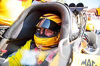 Feb 7, 2020; Pomona, CA, USA; NHRA top fuel driver Shawn Langdon during qualifying for the Winternationals at Auto Club Raceway at Pomona. Mandatory Credit: Mark J. Rebilas-USA TODAY Sports