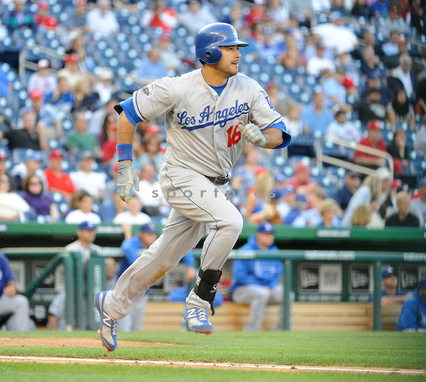 Los Angeles Dodgers Andre Ethier (16) in action during game 1 of a double header against the Washington Nationals on September 19, 2012 at Nationals Park in Washington DC. The Nationals beat the Dodgers 3-1.
