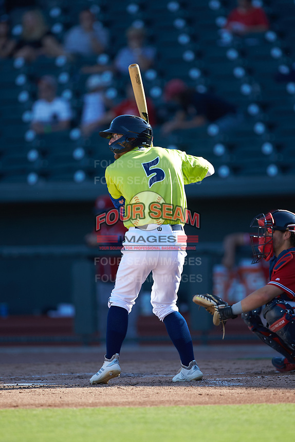 Chandler Avant (5) of the Columbia Fireflies at bat against the Rome Braves at Segra Park on May 13, 2019 in Columbia, South Carolina. The Fireflies walked-off the Braves 2-1 in game one of a doubleheader. (Brian Westerholt/Four Seam Images)