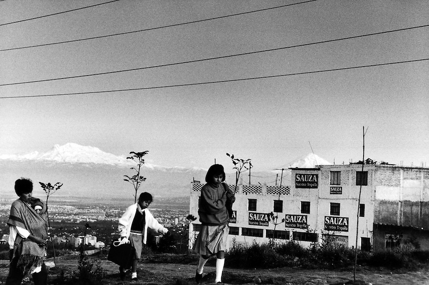 The snow capped volcanoes of Mexico City. 02-86