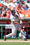 5 September 2005: Juan Encarnacion, outfielder for the Florida Marlins, connects for a base hit during a game against the Washington Nationals. The Nationals defeated the Marlins 5-2 at RFK Stadium in Washington, DC. Mandatory Photo Credit: Ed Wolfstein.