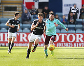 30th September 2017, Dens Park, Dundee, Scotland; Scottish Premier League football, Dundee versus Hearts; Hearts' Michael Smith and Dundee's Mark O'Hara race for the ball