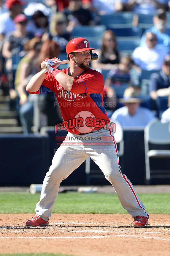 Philadelphia Phillies catcher Cameron Rupp (29) during a spring training game against the New York Yankees on March 1, 2014 at Steinbrenner Field in Tampa, Florida.  New York defeated Philadelphia 4-0.  (Mike Janes/Four Seam Images)