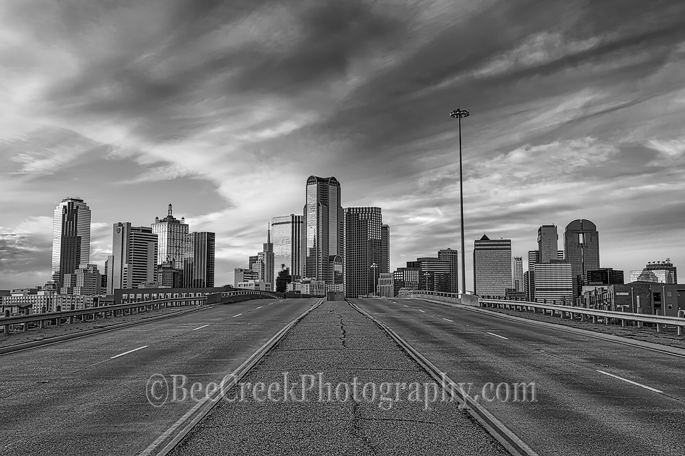 Another view of downtown Dallas in black and white. In this view you can see the city skyline with several of the usual high rise buildings like the Fountain Plaza, Bank of America, Chase Tower, Comerica.