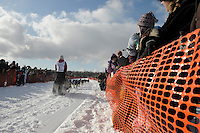 Zoya Denure as she takes off at start of Iditarod dogsled race, Willow, Alaska