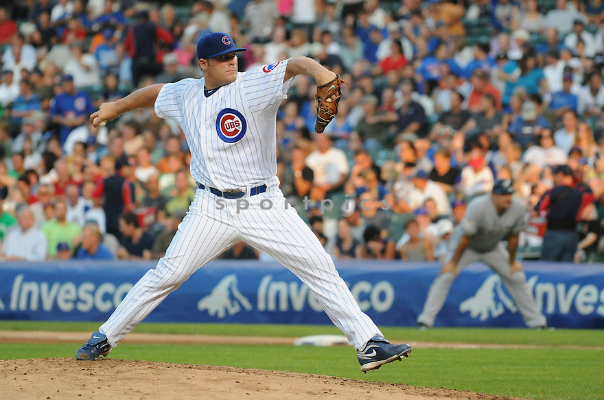 THOMAS DIAMOND, of the Chicago Cubs, in action during the Cubs game against the Milwaukee Brewers at Wrigley Field in Chicago, IL on August 3, 2010.  The Brewers won the game 4-3.