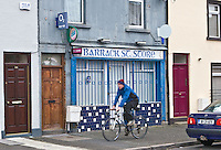 Aptly named shop Barrick Street Dundalk <br /> Chuh! Pavement riders even in back streets with no danger of traffic? Strewth!