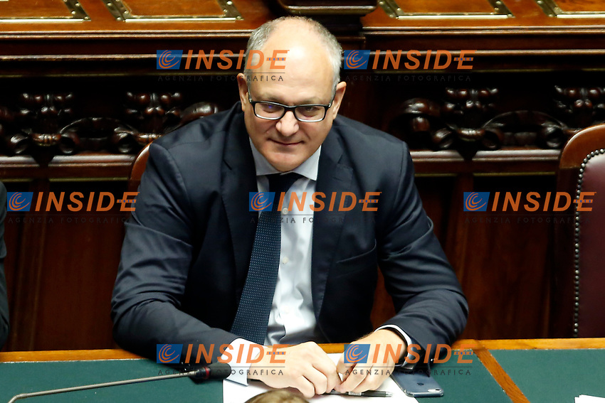 Minister of Economy Roberto Gualtieri<br /> Rome September 9th 2019. Lower Chamber. Programmatic speech of the new appointed Italian Premier at the Chamber of Deputies to explain the program of the yellow-red executive. After his speech the Chamber is called to the trust vote at the new Government. <br /> Foto  Samantha Zucchi Insidefoto
