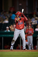 Peoria Chiefs left fielder Yariel Gonzalez (33) at bat during a game against the Bowling Green Hot Rods on September 15, 2018 at Bowling Green Ballpark in Bowling Green, Kentucky.  Bowling Green defeated Peoria 6-1.  (Mike Janes/Four Seam Images)