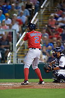 Boston Red Sox shortstop Xander Bogaerts (2) at bat during a Spring Training game against the Minnesota Twins on March 16, 2016 at Hammond Stadium in Fort Myers, Florida.  Minnesota defeated Boston 9-4.  (Mike Janes/Four Seam Images)