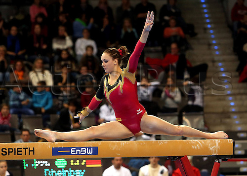 30.11.2012. Stuttgart, Germany.  Balance beam Anja Rheinbay ger Gymnastics World Cup