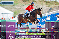 BEL-Lara de Liedekerke-Meier rides Alpaga d'Arville during the Showjumping for the FEI World Team and Individual Eventing Championship. 2018 FEI World Equestrian Games Tryon. Monday 17 September. Copyright Photo: Libby Law Photography